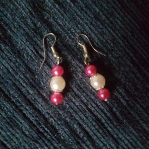 Boucles d'oreilles pour mariage, rose fuschia et argent. Réf. 60