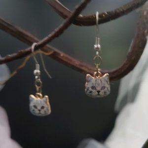Boucles d'oreilles petites têtes de chat