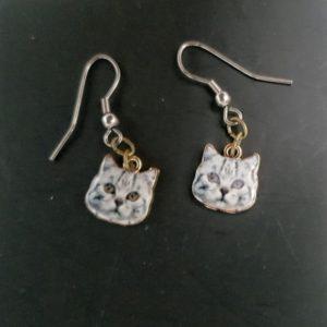 Boucles d'oreilles petites têtes de chat, Ref. 130