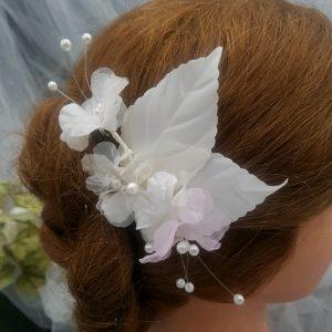 Pic mariage fleurs blanches et rose. Réf. 25