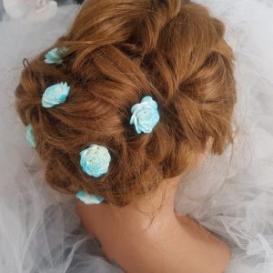 Pic mariage fleur turquoise. Réf. 87