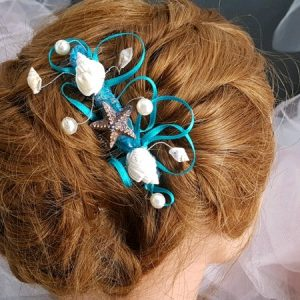 Peigne mariage thème mer, coquillages, turquoise. Réf. 131