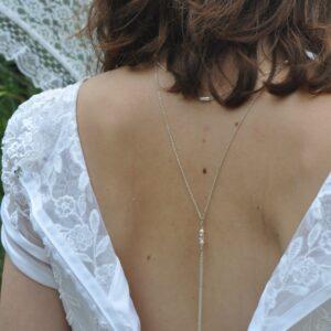 Collier de dos argent pour mariage avant et arrière, perles blanc nacré et rose, réf. 00134