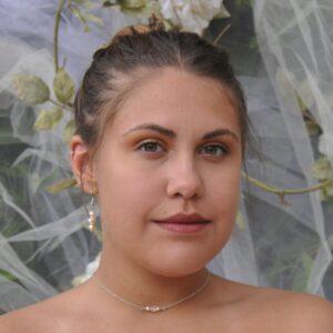 Collier de dos en métal argenté, perles blanches et rose pour mariée, Réf. 141