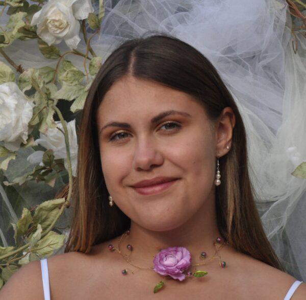 Collier mariage thème champêtre fleur parme