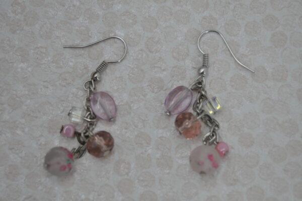 Boucles d'oreilles argent et rose